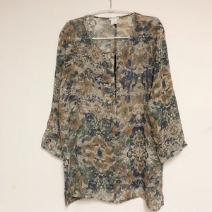 Club Monaco Silk Floral Top